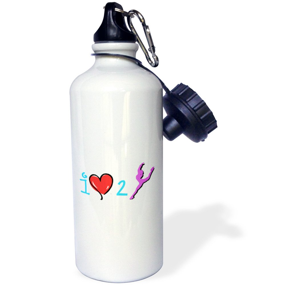 3dRose wb_16953_1 I Love to Dance Sports Water Bottle, 21 oz, White
