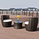 Tangkula 3 Piece Patio Furniture Set Wicker Rattan Outdoor Patio Conversation Set with 2 Cushioned Chairs & End Table Backyard Garden Lawn Chat Set Chill Time Modern Outdoor Furniture (vase Brown)
