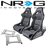 NRG FRP-300E Pair of Fiber Glass Bucket Racing Seat (Black)+Mounting Bracket for Ford Mustang 4th Gen