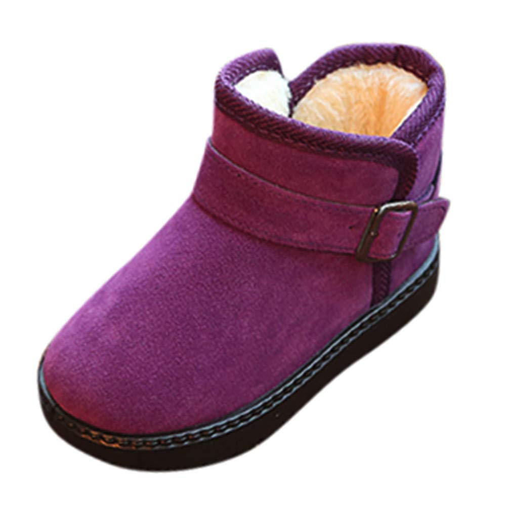 Winter Clearance Kids Warm Plus Velvet Non-Slip Fashion Casual Shoes Girls Boys Snow Boots Purple, US Size:14