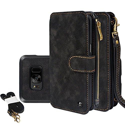 Galaxy S8 Plus Hülle, Galaxy S8 Plus Wallet Brieftasche, Samsung Galaxy S8 Plus Holster Abnehmbare Tasche Premium PU Leder Flip Zipper Tasche Holster Loch Shell Schutz Bag Etui 14 Karte Slot Flip Zipp