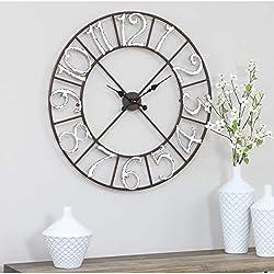 Metal Wall Clock - 30 h X 30 w 1.5 d Brown Farmhouse Rustic Round Numerical Display