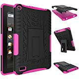 Fire 7 2015 Case, Amazon Fire 7 Case, NOKEA Hybrid Heavy Duty Armor Protection Cover [Anti Slip] [Built-In Kickstand] Skin Case For Amazon Fire 7 5th Generation 2015 Release Tablet (Reddish Pink)