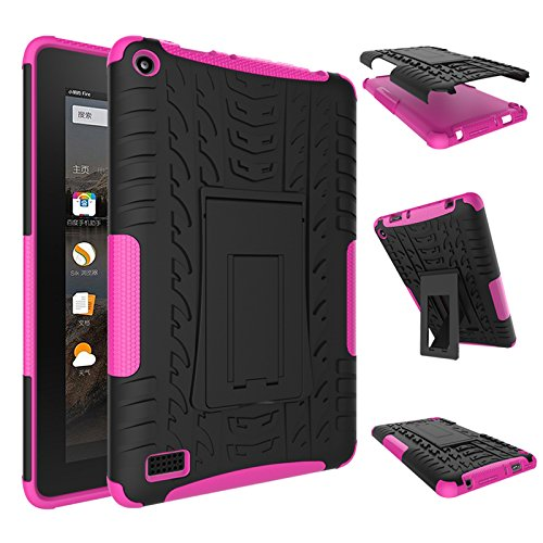 Best Buy! Fire 7 2015 Case, Amazon Fire 7 Case, NOKEA Hybrid Heavy Duty Armor Protection Cover [Anti...