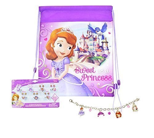 Disney Sofia The First Jewelry Set, Sticker Earrings, Charm Bracelet, PLUS Sofia Sling Bag by Disney