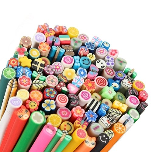 100 pcs 3D DIY Nail Art Fimo Canes/Rods Sticker Tips - Decoration, colour clay by DELIAWINTERFEL