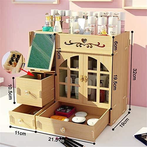 Kangsur Desktop Kosmetik Lagerschrank Büro Werkzeugkasten Hölzern DIY Multifunktional Aufbewahrungskiste H01-4