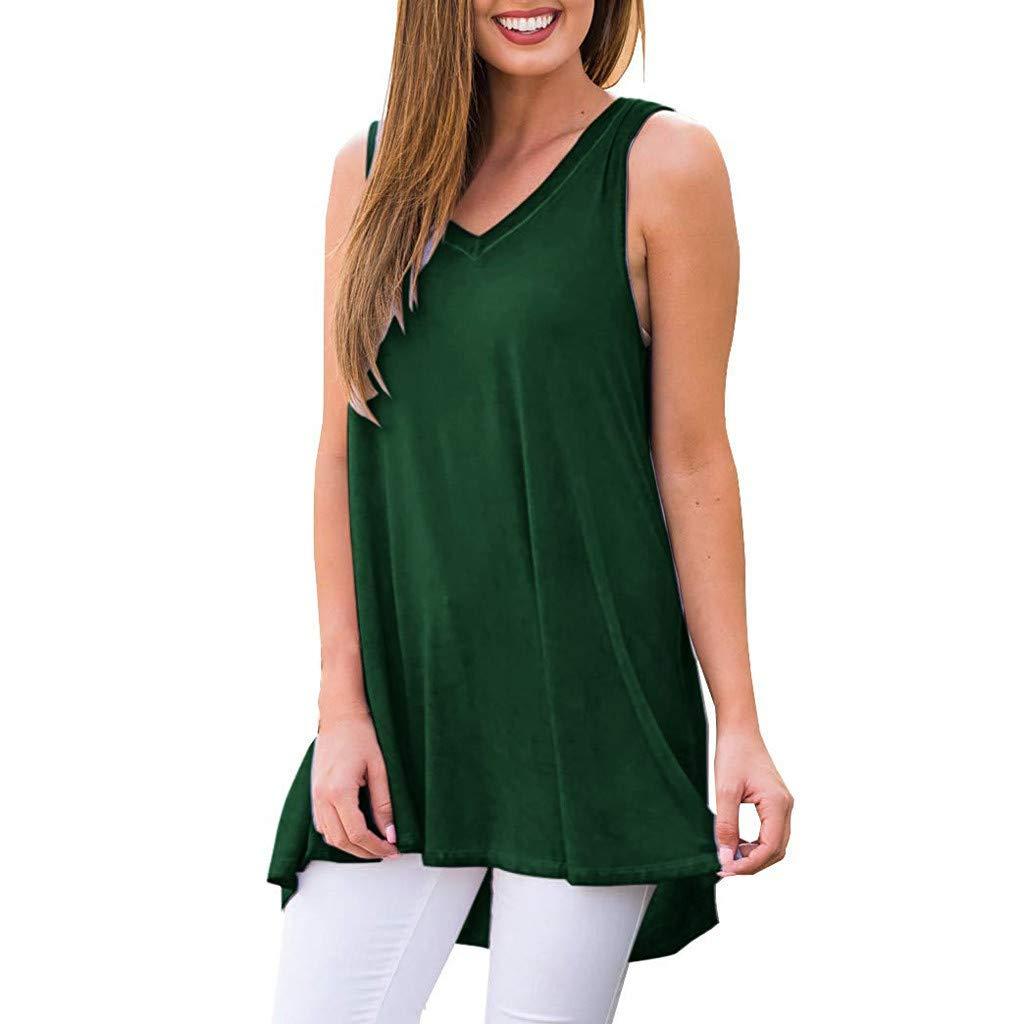 Sunhusing Women's V-Neck Sleeveless Solid Color Tank Shirt Summer Holiday Casual Flowy Hem Tunic Tops Green by Sunhusing
