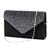 Nodykka Women Evening Envelope Rhinestone Frosted Handbag Party Bridal Clutch Purse Shoulder Cross Body Bag (Black)