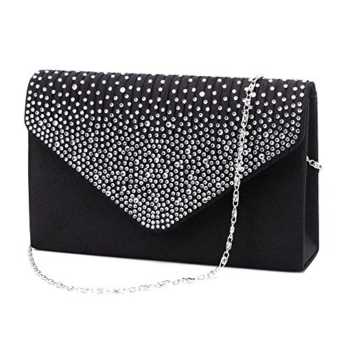 Black Silk Clutch - Nodykka Purse and Handbags for Women Shoulder Crossbody Bags Evening Envelope Party Bridal Clutch Purse