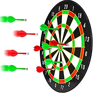 BETTERLINE Magnetic Dartboard Set - 16 Inch Dart Board with 6 Strong Magnet Darts for Kids and Adults - Gift for Game Room, Office, Man Cave and Parties (Green Red White)