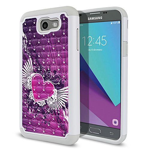 Wings Heart Drops (Samsung Galaxy J7 2017/ J7V J727 Sky Pro Perx Moniker 5.5 inch Case, Fincibo (TM) Dual Layer Shock Proof Hybrid Hard Protector Cover Anti-Drop Silicone Star Studded Rhinestone Bling, Purple Heart Wing)