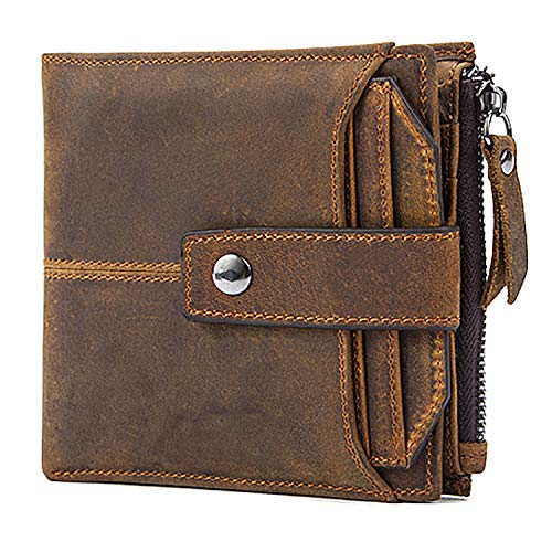 Mens Genuine Leather Wallet with Card Holder and RFID Blocking (Cow Leather Mens Wallets)
