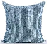 """Handmade Light Blue Pillow Shams, Striped Beaded Sparkly Glitter Pillow Shams, 24""""x24"""" Pillow Sham, Square Cotton Linen Shams, Modern Pillow Shams - Misty Blue"""