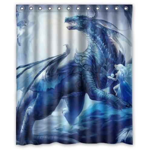 Special Design New Style Dragon Pattern Waterproof Bathroom Fabric Shower CurtainBathroom Decor 60quot