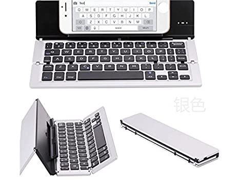 Multimedia Universal Mobile Tablet PC de Aluminio Bluetooth Teclado inalámbrico Wireless Three Plegable Teclado (Plata + Negro) para PC: Amazon.es: ...