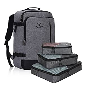 Hynes Eagle 38L Flight Approved Weekender Carry on Backpack, Black Grey with Grey 3PCS Paking Cubes