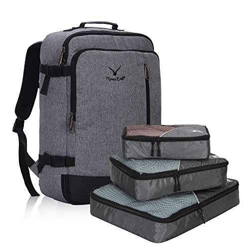 Hynes Eagle 38L Flight Approved Weekender Carry on Backpack Black Grey with Grey 3PCS Packing - Airlines International