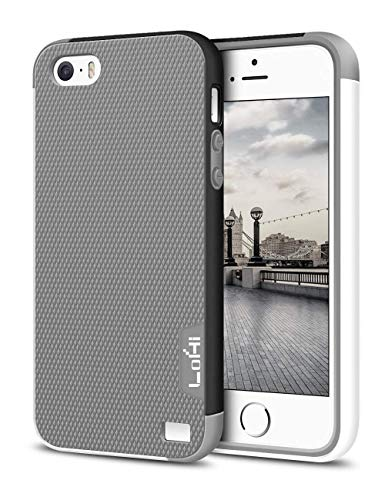 LoHi iPhone 5s/5/Se Case, [Extra Front Raised Lip] Hybrid Impact 3 Color Shockproof Rugged Soft TPU Hard PC Bumper Cover - Grey
