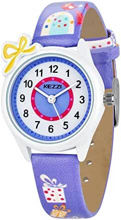 Dovoda Watch for Girls Easy Reader Time Teacher Bows Purple Leather Kids Watches