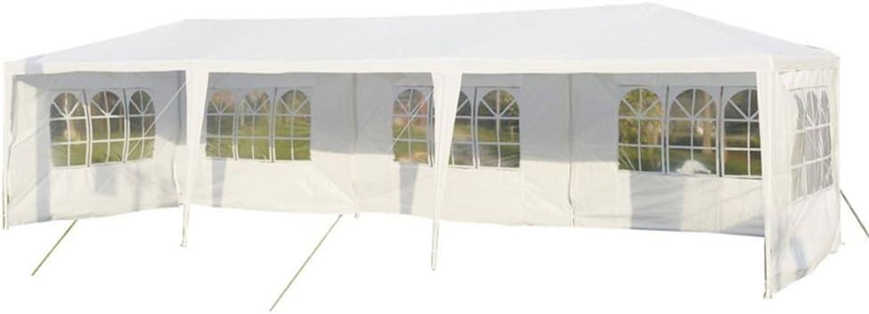 b/âche imperm/éable en PE 5 fen/êtres 5 parois lat/érales MCTECH/® 3 x 9 m blanc Tente de r/éception exterieure Tente de jardin Pavillon Tente de bi/ère Tente de f/ête Pavillon de f/ête comprenant