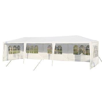 Carpa pabellón 3m x 9m para jardín, camping, fiesta -Tienda eventos o boda color blanco 3x9m con 5 ventanas.