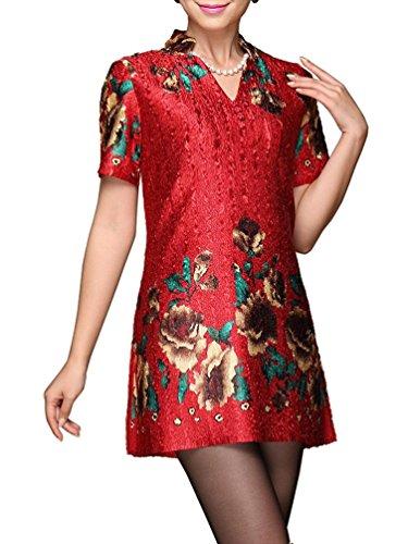 Bitablue Women's V-Neck Floral Print Short-Sleeved Red Blouse - X-Large