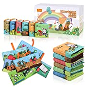 TUMAMA Soft Books for Babies, Baby First Soft Books Early Education Toys Activity Crinkle Cloth Books with Vegetable, Fruit, Number, Animals, Shape, Letter for Toddler, Infants and Kids - 6 Pack