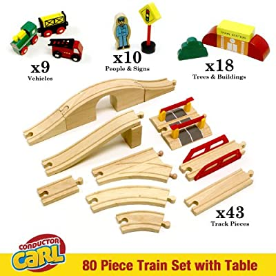 Conductor Carl Train Table & Play Board Set (80 Piece): Toys & Games