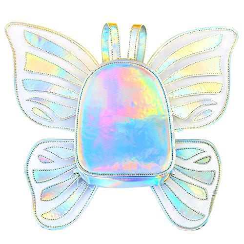 Zicac Women s Laser Holographic Backpack Butterfly Angel Wings Daypack for Girls