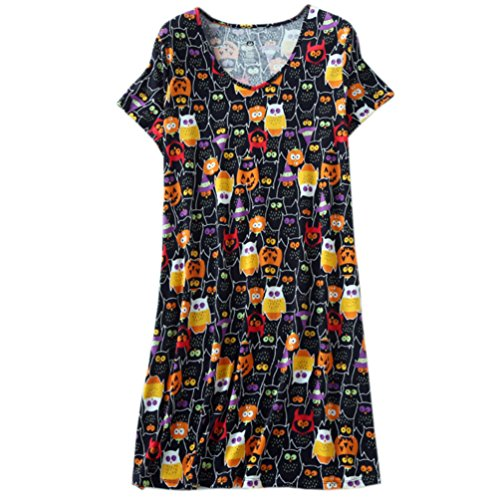 ENJOYNIGHT Womens Cotton Sleepwear Short Sleeves Print Sleepshirt Sleep Tee (Owl, S/M)