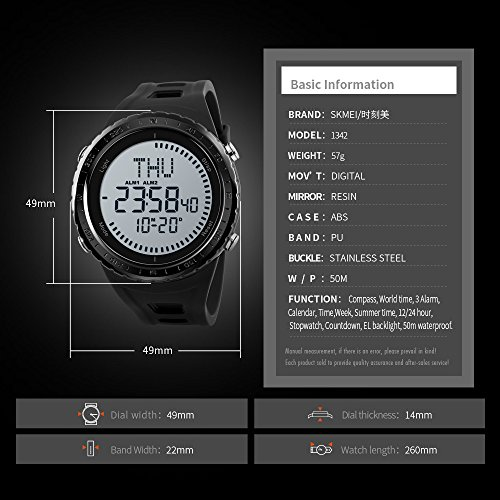 SKMEI-NEW-Compass-Watch-Mens-Sports-Watches-5ATM-Water-Proof-Digital-Outdoor-Backlight-Countdown-Wrist-Watches