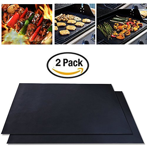 Yamde Nonstick BBQ Grill Mat 16 x 13 Inch (Set of 2) Barbecue Pad Free Cooking Mats Heavy Duty Grilling Accessories, Reusable Sheets for Gas, Charcoal, Electric Grills