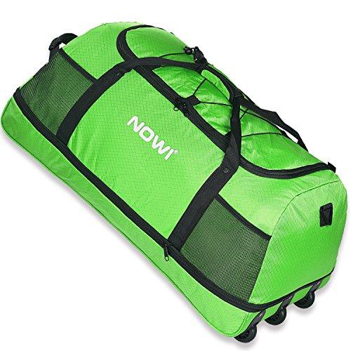 Nowi XXL 3-Rollen Reisetasche 100-135 Liter Volumen Rollenreisetasche platzsparend 81 cm mit Dehnfalte apfelgrün