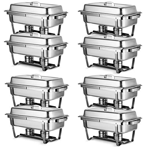 Chafer Warmer - Mophorn Chafing Dish 8 Packs 8 Quart Stainless Steel Chafer Full Size Rectangular Chafers for Catering Buffet Warmer Set with Folding Frame