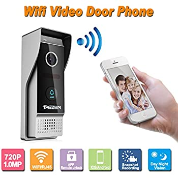 TMEZON Wireless/Wired Wifi IP Video Door Phone Doorbell Intercom Entry System 720P 1.0MP  sc 1 st  Amazon.com & Video Doorbell Camera Wifi Doorbell Video Door Phone for Home ... pezcame.com