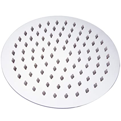 ZEYA Stainless Steel Ultra Slim Round Rain Shower Head (8 Inches, Silver)