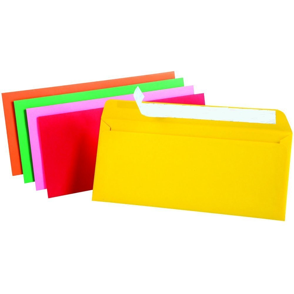 Assorted Assorted Pastel 4 1//8H x 9 1//2W 1InTheOffice EasyClose Neon Brights Color Envelopes 10 50//Pack