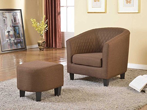 Container Furniture Direct Isabella Collection 2 Piece Traditional Fabric Upholstered Lounge Chair Ottoman/Footrest Set, Brown