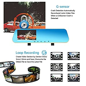 Dash Cam Dual Lens Front and Rear Cam, Rear View Mirror Car Backup Camera, 1080P FHD Front and Back Video Recorder Car DVR with G-Sensor, Motion Detection and Parking Mode, 4.3 inch 140° Wide View