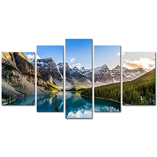 Art Poster Painting - Wall Art Decor Poster Painting On Canvas Print Pictures 5 Pieces Moraine Lake and Mountain Range Sunset Canadian Rocky Mountains Landscape Framed Picture for Home Decoration Living Room Artwork