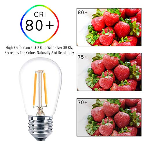 Svater 15 Pack S14 Replacement Bulb, Led 2W Dimmable Warm White 2700K E26 Base, Waterproof Clear Glass Edison Bulbs for… 3