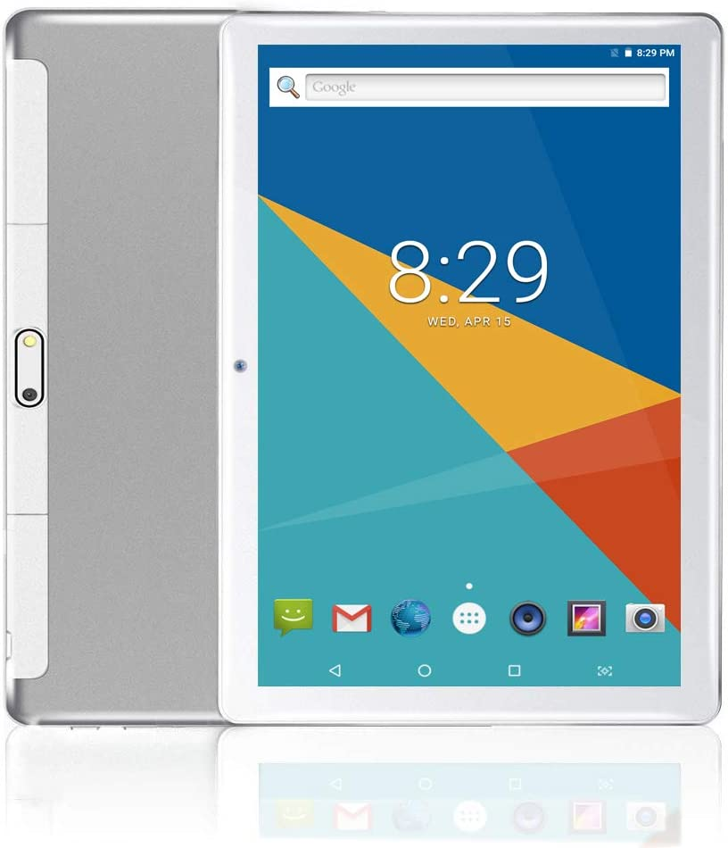 MoZhu Android Tablet 10 Inch, Tablets PC 10.1,HD,3G, WiFi, GPS, Octa Core, 64GB ROM,4GB RAM, Dual Sim Card, New, (Silver)