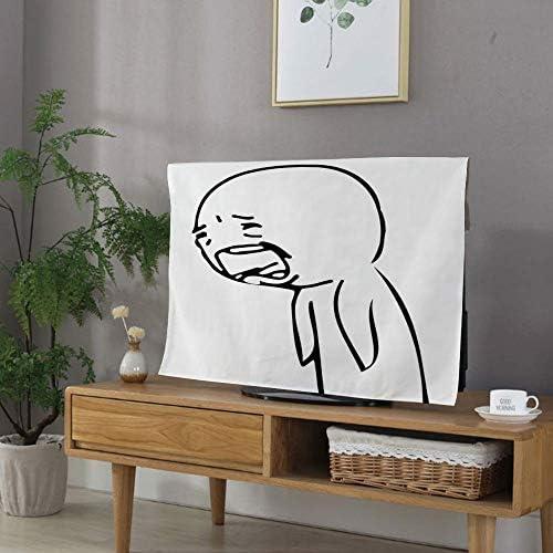 防塵カバー 液晶テレビカバー 家電カバー 40Vのテレビに適用 可愛い 欧米風 保護カバー - パソコン ホコリ ユーモアの装飾 悲しい男怒って泣いている人気のレイジコミックジェネレータースタイルオンライン絵文字印刷 ブラックホワイト