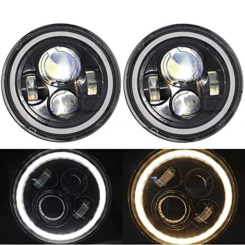 [해외]�� 양 7 인치 LED 헤드라이트 화이트 헤일로 링 천사 눈 노란색 턴 신호 헤일로 오토바이 헤드 라이트 호환 할리 데이비슨 지프 랭 글 러 JK TJ CJ / shunyang 7 Inch LED Headlights with White Halo Ring Angel Eyes Yellow Turn Signal Halo Moto...