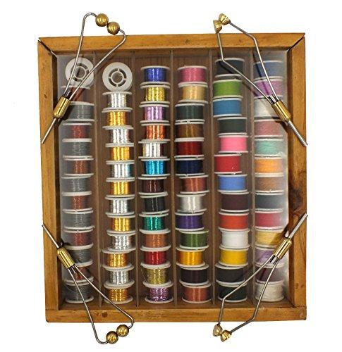 Fly Tying Thread, Floss, Tinsel, Wool, Copper & Lead Wire Assortment 72 Rolls w/ Wood Case & 4 Bonus (Floss Assortment)
