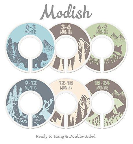 Modish Labels Baby Nursery Closet Dividers, Closet Organizers, Nursery Decor, Baby Boy, Woodland, Tribal, Woodland Animals, Bear, Fox, Deer, Blue, Gray, Green, Brown, Tan, Beige (Blue/Green/Brown) by Modish Labels