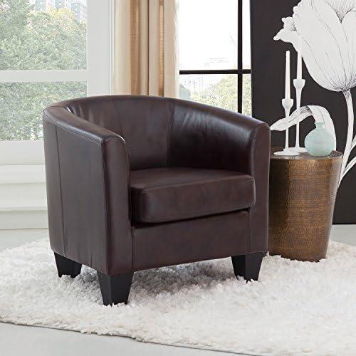 Grafton Joseph Faux Leather Barrel Chair, One Size, Coffee