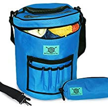 Premium Knitting Bag, Yarn Totes Organizer - Lightweight and Portable,Versatile w/Divider and Extra Pockets - Storage and Organization of Crochet, Hooks - Comfy w/Accesory Case by Stitchcrafts Co.