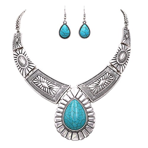 Rosemarie Collections Women's Southwest Teardrop Stone Statement Necklace Earrings Set (Turquoise Color)